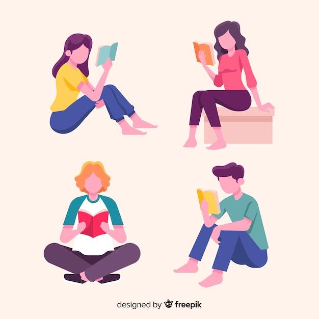 Raccolta di giovani che leggono Vettore gratuito
