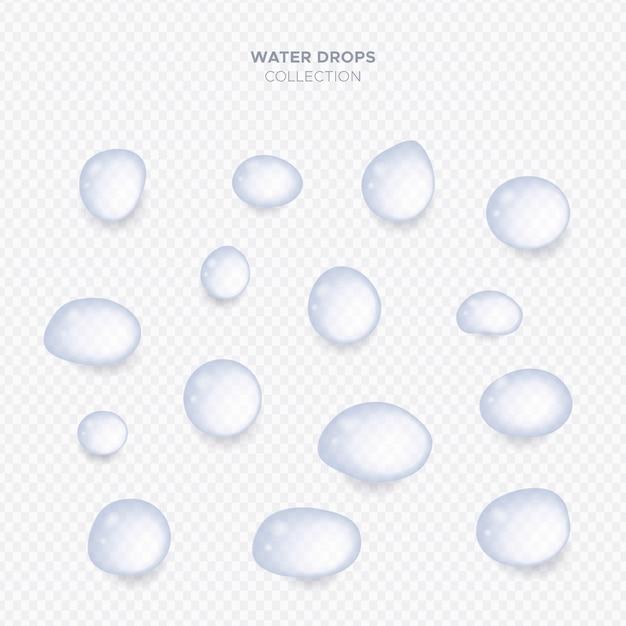Raccolta di gocce di acqua trasparente realistico Vettore gratuito