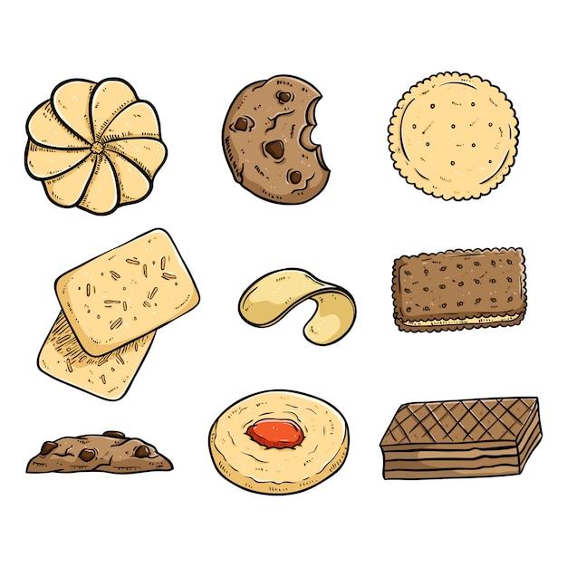 Raccolta di gustosi coockies con doodle colorato o stile disegnato a mano Vettore Premium