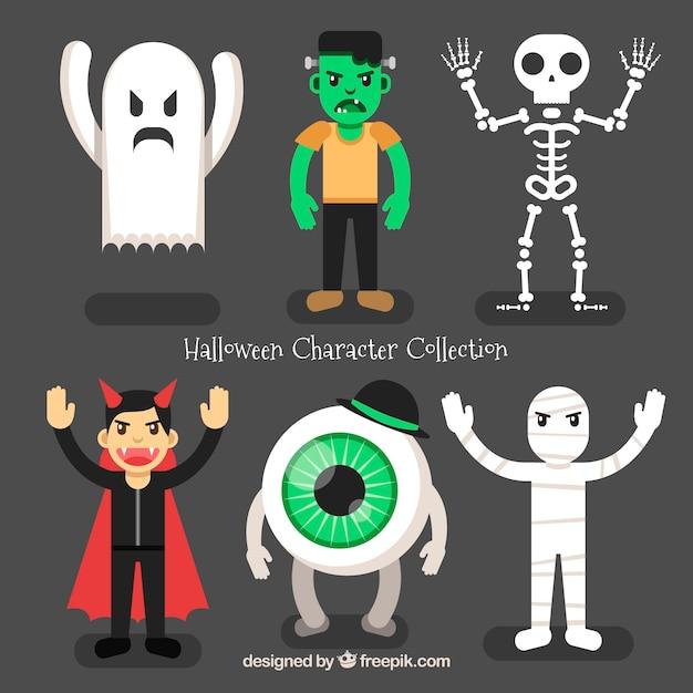 Raccolta di halloween di personaggi arrabbiati Vettore gratuito