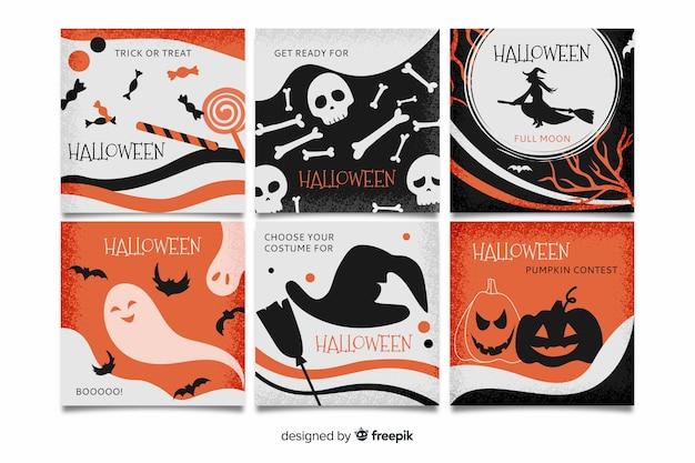 Raccolta di halloween instagram post Vettore gratuito