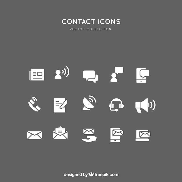Raccolta di icone a contatto bianco Vettore gratuito