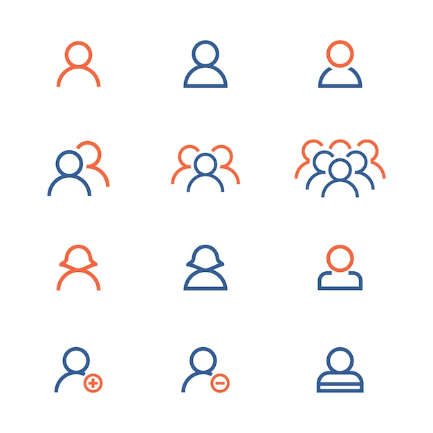 Raccolta di icone della gente Vettore gratuito
