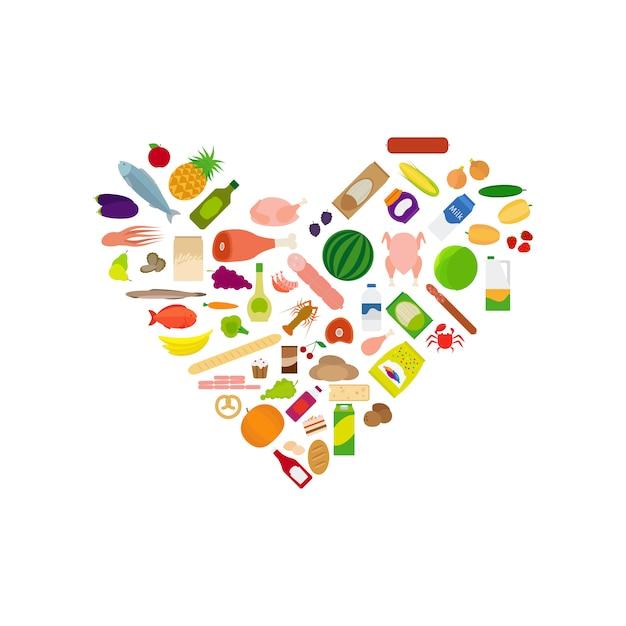 Raccolta di icone di cibo a forma di cuore Vettore Premium