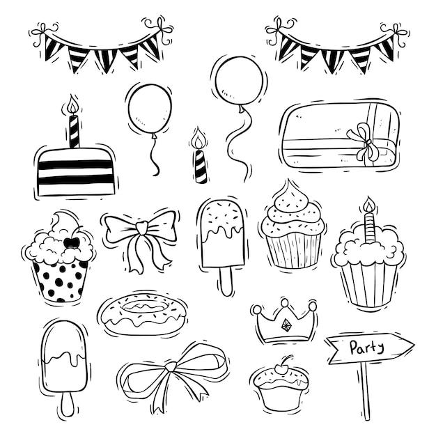 Raccolta di icone di compleanno con cup cake, gelato e palloncino Vettore Premium