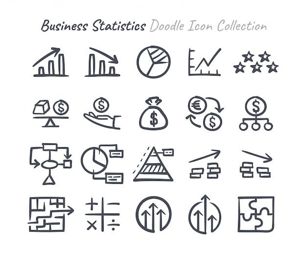 Raccolta di icone di doodle di statistiche aziendali Vettore Premium
