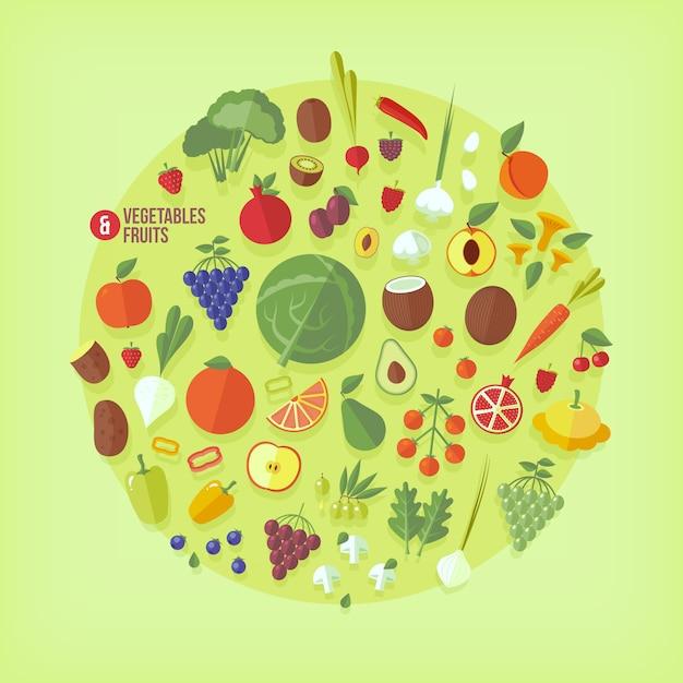 Raccolta di icone di frutta e verdura. stile moderno. Vettore Premium