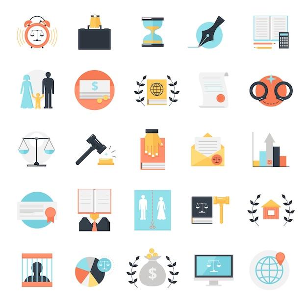 Raccolta di icone di professione legale Vettore gratuito