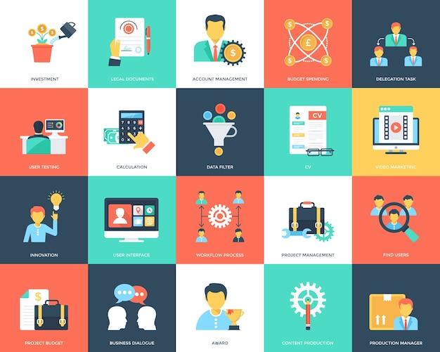 Raccolta di icone piane di gestione del progetto Vettore Premium