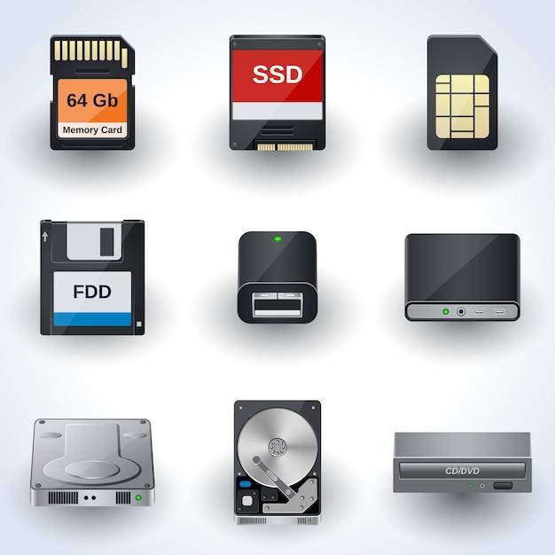 Raccolta di icone vettoriali di archiviazione dei dati. dischi, carte, guida miniature realistiche Vettore Premium