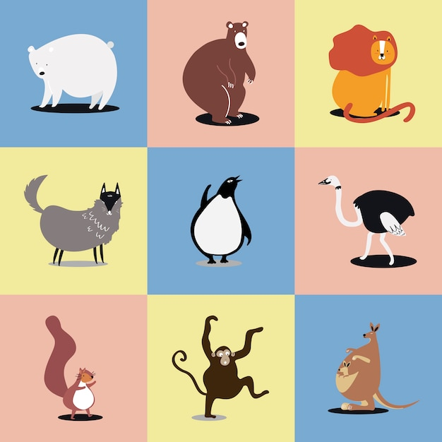 Raccolta di illustrazioni di simpatici animali selvatici Vettore gratuito