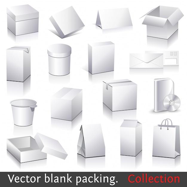 Raccolta di imballaggio in bianco di vettore Vettore Premium