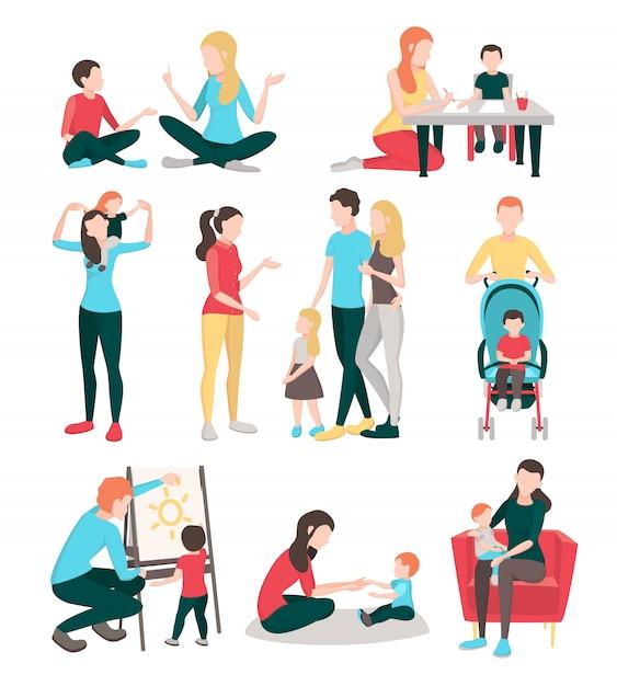 Raccolta di immagini piatte di persone babysitter con personaggi umani isolati Vettore gratuito