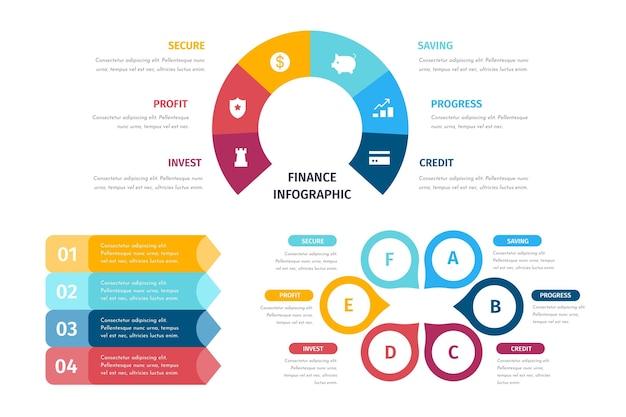 Raccolta di infografica finanza colorata Vettore gratuito