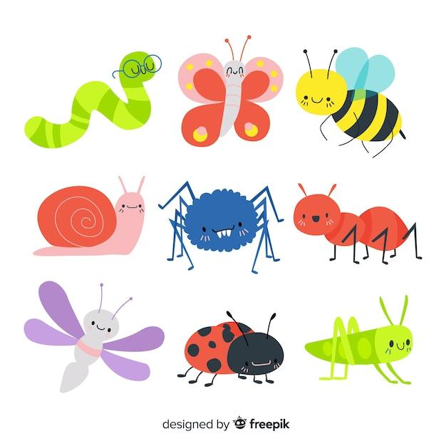 Raccolta di insetti colorati disegnati a mano Vettore gratuito