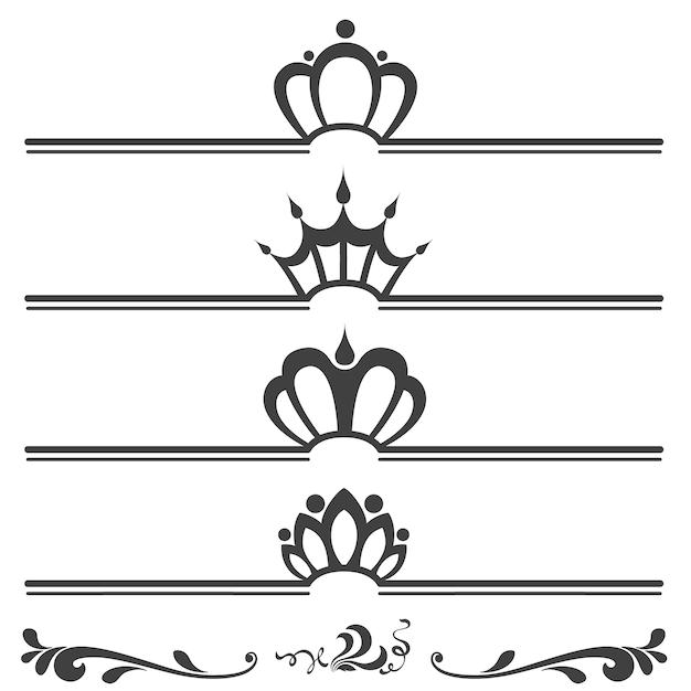 Raccolta di intestazioni testo vintage con corone Vettore gratuito
