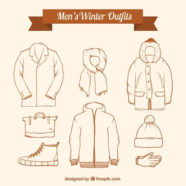 Raccolta di inverno schizzi set Vettore gratuito
