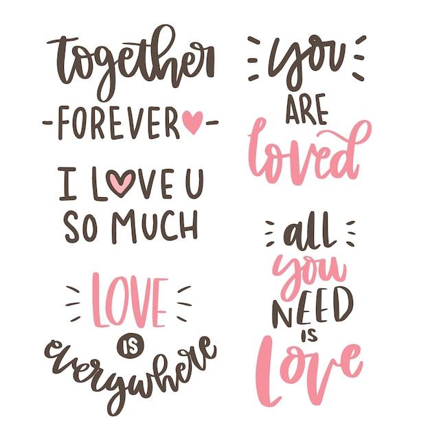Raccolta di letter-love hand lettering Vettore Premium