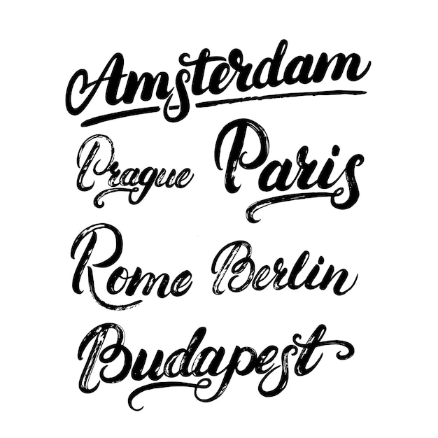 Raccolta di lettere maiuscole europee Vettore Premium