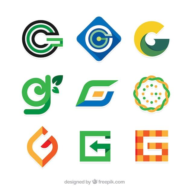 Raccolta di loghi astratti di lettera g in design piatto Vettore gratuito