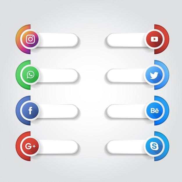 Raccolta di loghi di media sociali Vettore Premium