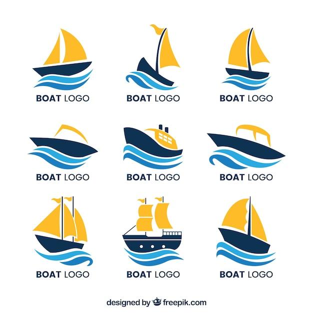 Raccolta di loghi in barca con le onde Vettore gratuito