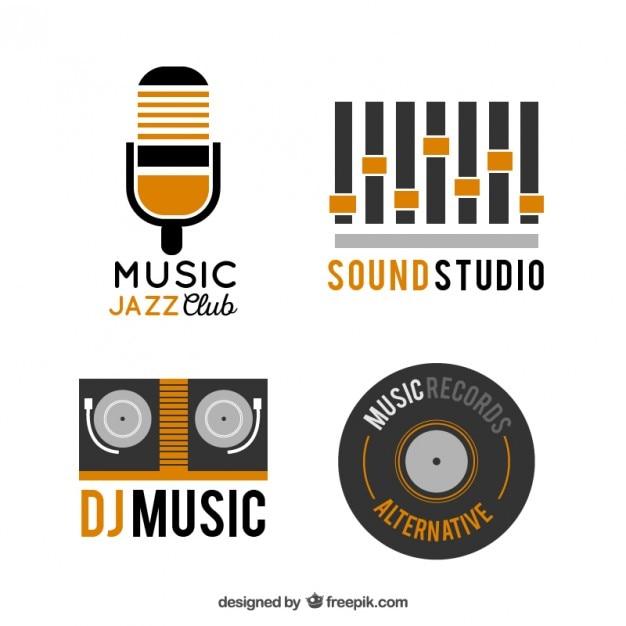 Raccolta di loghi musicali Vettore Premium