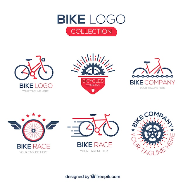 Raccolta di loghi per biciclette Vettore gratuito