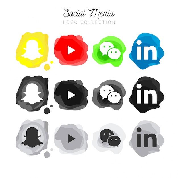 Raccolta di logo di media sociali acquerello moderno Vettore gratuito