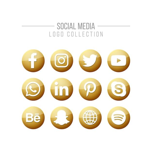 Raccolta di logo dorato di media sociali Vettore Premium