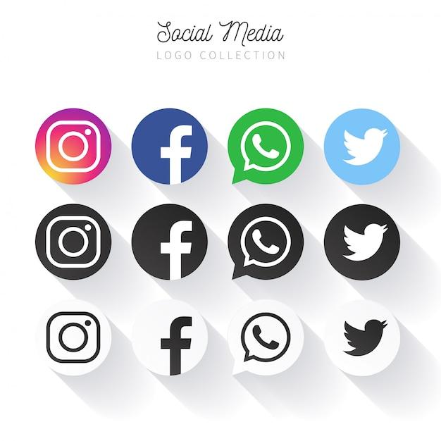 Raccolta di logo social media popolare nei cerchi Vettore gratuito