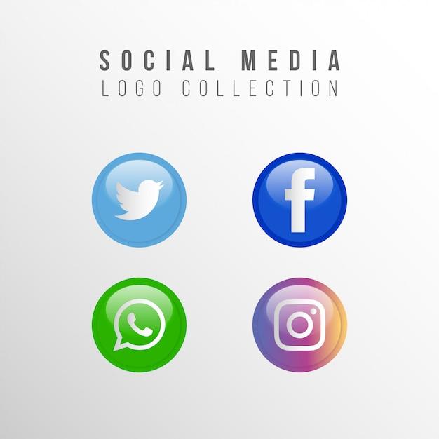 Raccolta di logo social media popolare Vettore gratuito