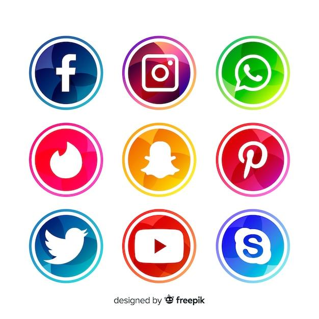 Raccolta di logotipi di media sociali Vettore gratuito