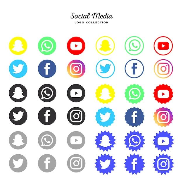 Raccolta di logotipi di social media Vettore gratuito