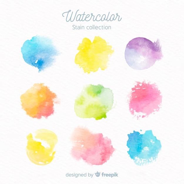 Raccolta di macchie di acquerello colorato Vettore gratuito