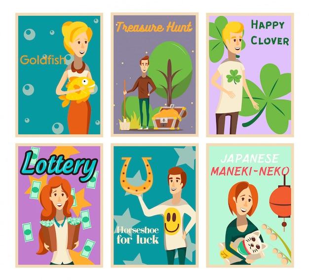 Raccolta di manifesti di situazioni fortunate di composizioni di immagine piatte con caratteri umani felici e illustrazione di vettore del testo Vettore gratuito