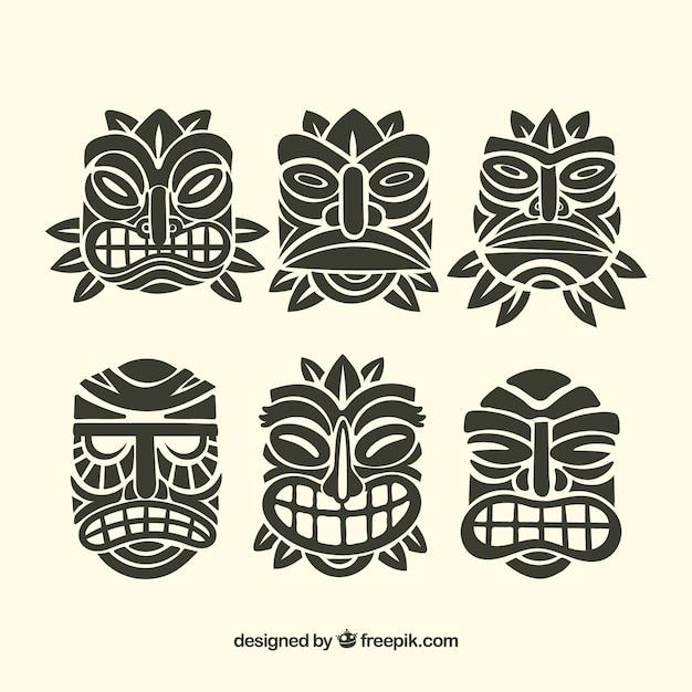 Raccolta di maschere ornamentali tiki Vettore gratuito
