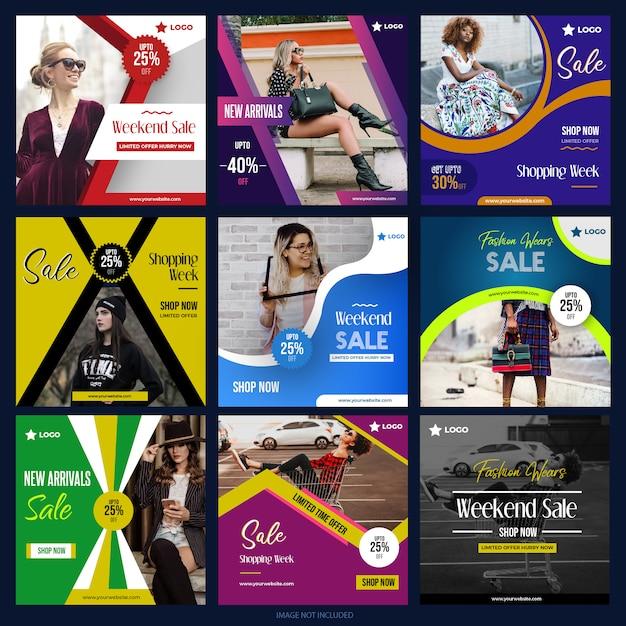 Raccolta di media digitali post per instagram instagram Vettore Premium