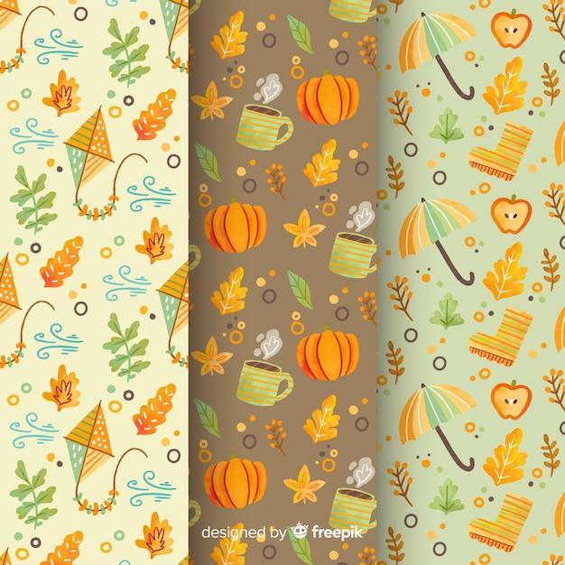 Raccolta di modelli autunno acquerello Vettore gratuito