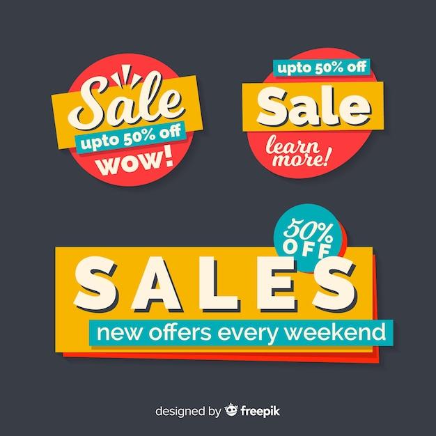 Raccolta di modelli di banner vendita astratta Vettore gratuito