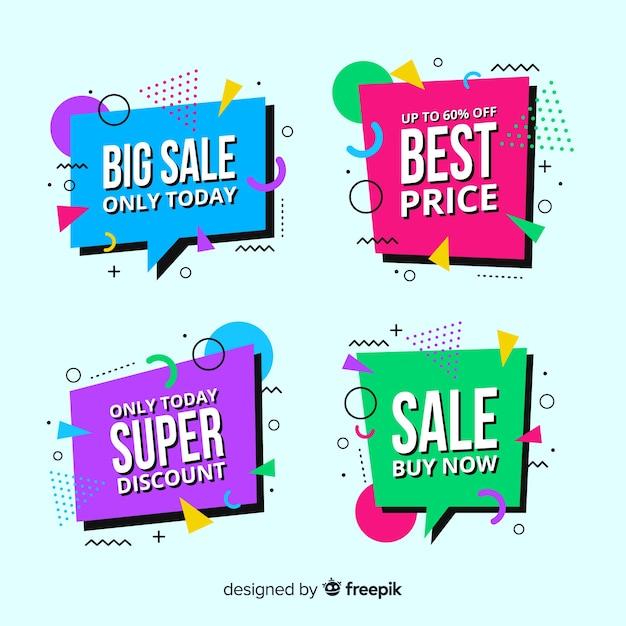 Raccolta di modelli di banner vendita memphis Vettore gratuito
