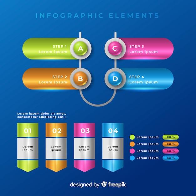 Raccolta di modelli di elementi infografica colorato Vettore gratuito