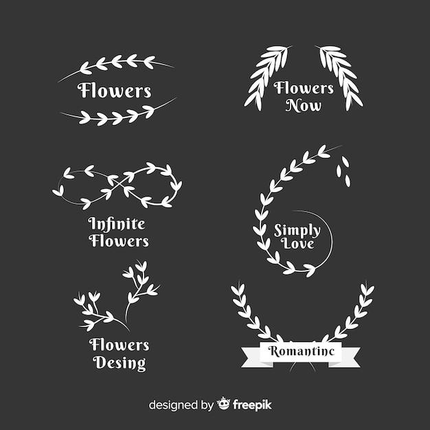 Raccolta di modelli di loghi matrimonio fiorista Vettore gratuito