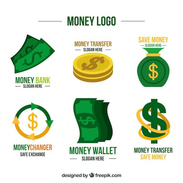 Raccolta di modelli di logo di denaro Vettore gratuito
