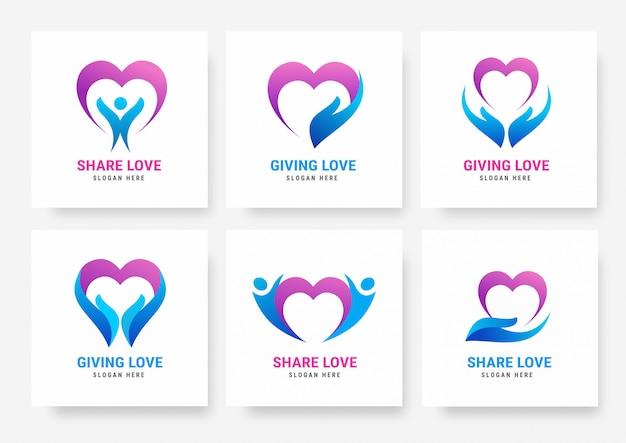 Raccolta di modelli di logo love share Vettore Premium