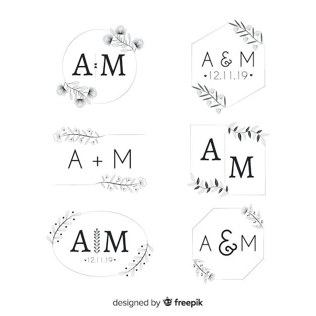 Raccolta di modelli di logo monogramma di nozze Vettore gratuito