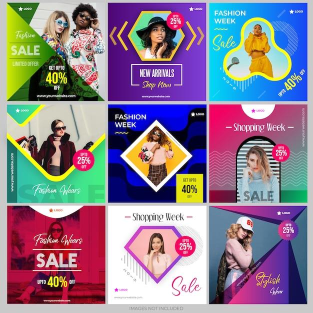 Raccolta di modelli di post sui social media per il marketing digitale Vettore Premium