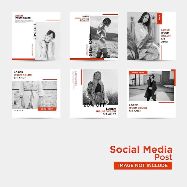 Raccolta di modelli di post sui social media Vettore Premium