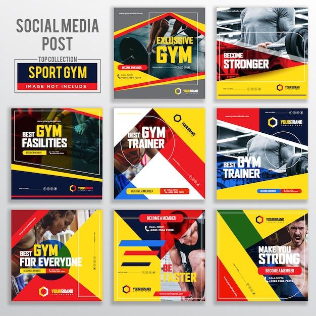 Raccolta di modelli di progettazione di post social media Vettore Premium
