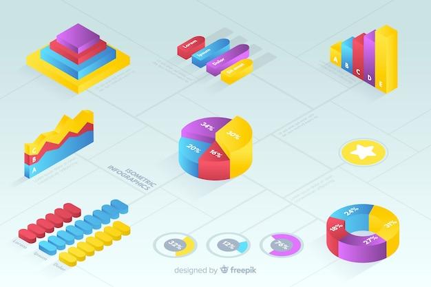 Raccolta di modelli di statistica colorata isometrica Vettore gratuito